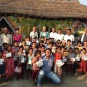 Kids who received the solar lamps